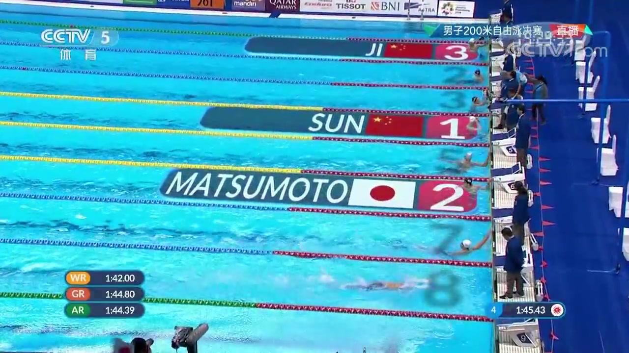【夺金时刻】男子200米自由泳 孙杨夺冠