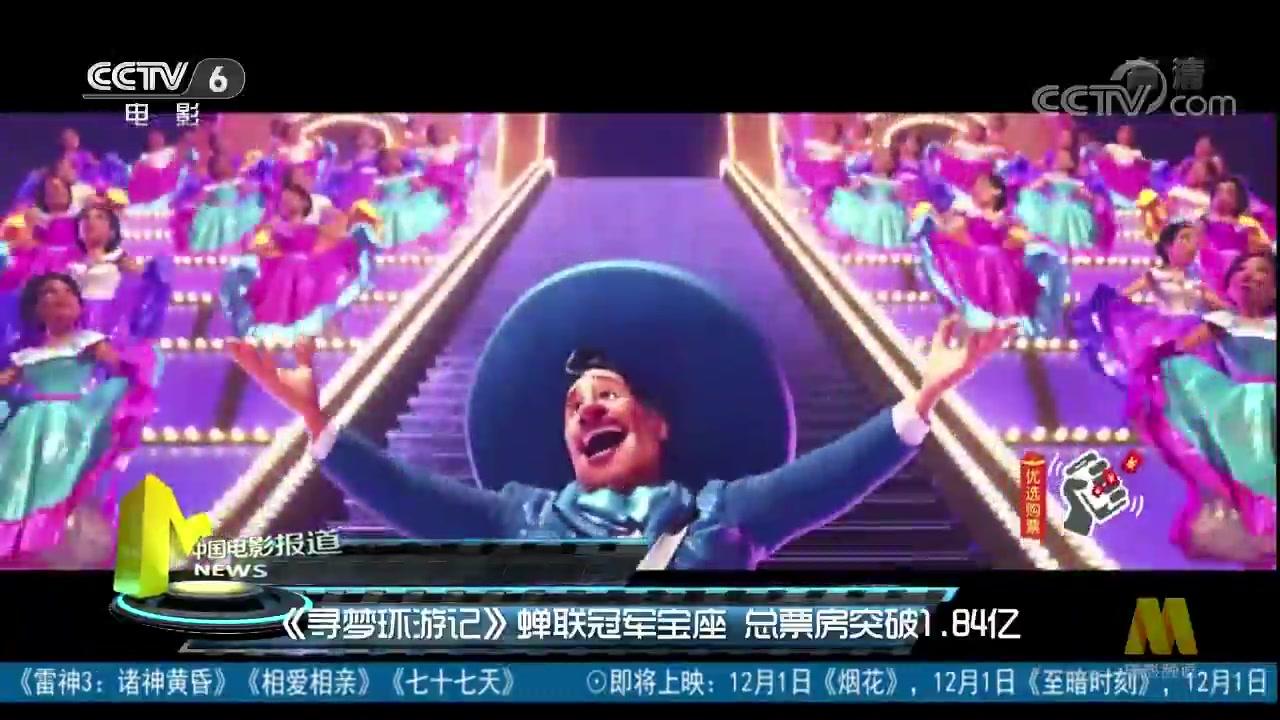 《寻梦环游记》蝉联冠军宝座 总票房突破1.84亿